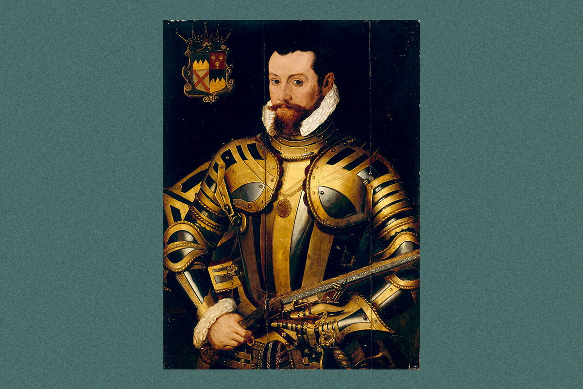 A portrait of Thomas Butler, 10th Earl of Ormond, wearing armor