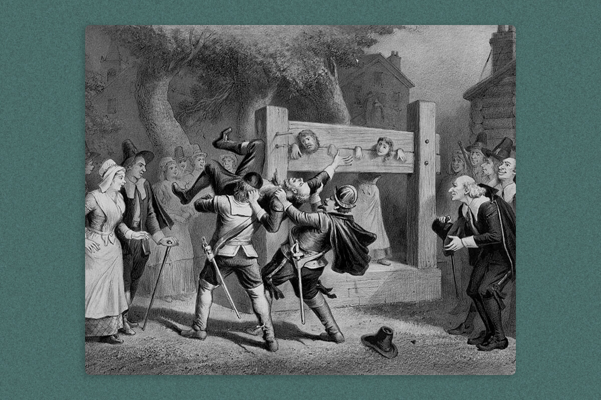 A man and a woman in a pillory surrounded by a crowd and a man being lifted by two men with swords
