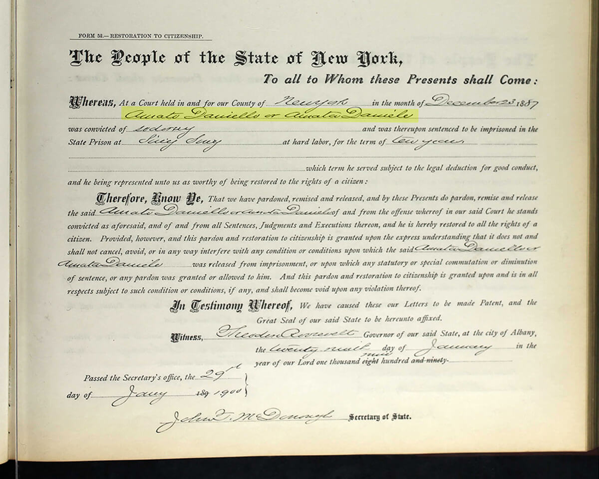 A pardon for Amato Daniells from Governor Theodore Roosevelt