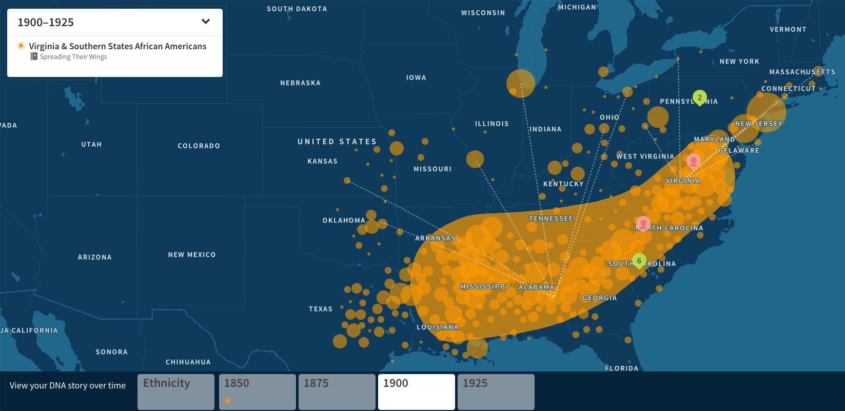 Ancestry map showing DNA linked to the Great Migration.