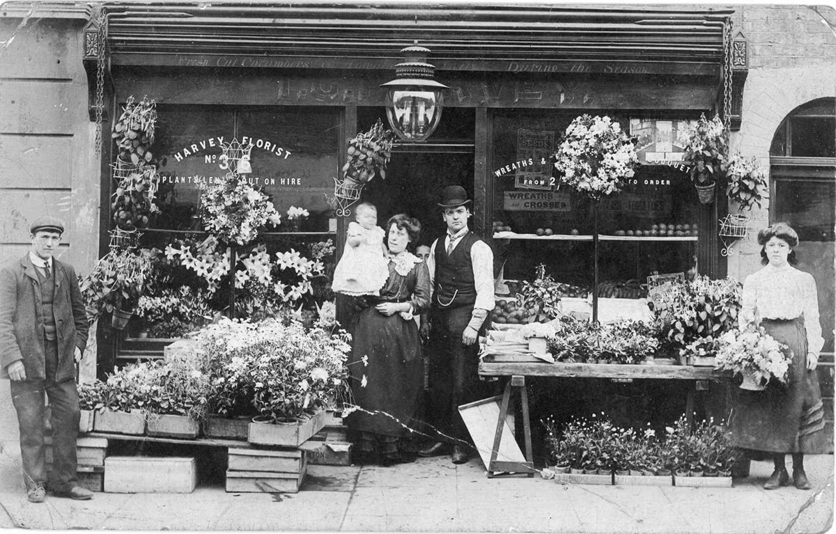 An early 20th-century flower shop.